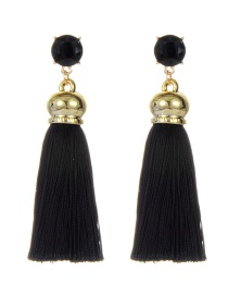 Fashion Black Long Tassel Decorated Simple Earrings