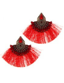 Fashion Red Diamond&tassel Decorated Sector Shape Earrings