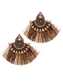 Fashion Multi-color Diamond&tassel Decorated Sector Shape Earrings