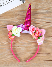 Trendy Plum Red Unicorn&flower Decorated Hair Hoop