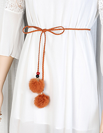 Fashion Khaki Fuzzy Balls Decorated Pure Color Waist Belt
