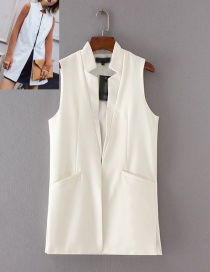 Fashion White Pure Color Decorated Long Vest