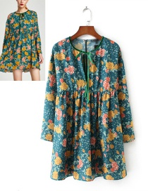 Fashion Multi-color Flower Pattern Decorated Long Sleeve Dress