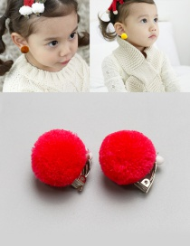 Fashion Red Fuzzy Balls Decorated Children Earrings