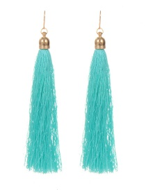 Fashion Lake Blue Long Tassel Decorated Pure Color Earrings