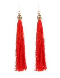 Fashion Orange Long Tassel Decorated Pure Color Earrings