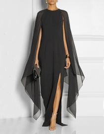 Fashion Black Pure Color Decorated Bat-wing Sleeve Dress