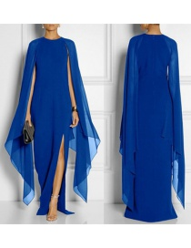 Fashion Sapphire Blue Pure Color Decorated Bat-wing Sleeve Dress