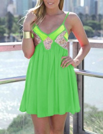 Trendy Green V Neckline Design Patchwork Suspender Dress
