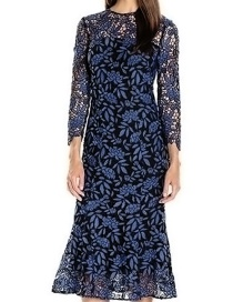 Trendy Blue Flower Pattern Decorated Hollow Out Long Dress