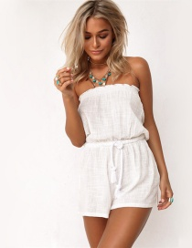 Trendy White Pure Color Decorated Off Shoulder Jumpsuit