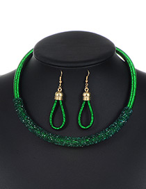 Trendy Green Circular Ring Decorated Pure Color Jewelry Sets