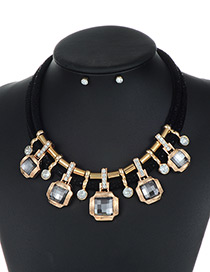 Trendy Black Square Shape Decorated Double Layer Jewelry Sets