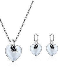 Fashion Silver Color Heart Shape Design Pure Color Jewelry Sets
