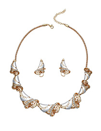 Fashion Gold Color Scrolls Shape Decorated Pure Color Jewelry Sets
