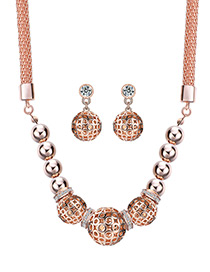 Fashion Gold Color Round Balls Decorated Hollow Out Jewelry Sets