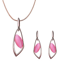 Fashion Gold Color+plum Red Oval Shape Design Hollow Out Jewelry Sets