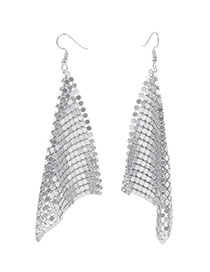 Trendy Silver Color Sequins Decorated Square Shape Earrings