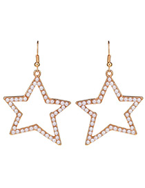 Fashion Gold Color Star Sjape Decorated Pure Color Earrings