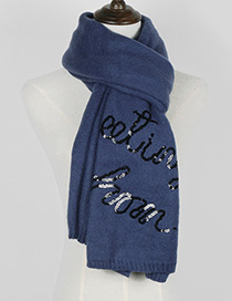Trendy Blue Letter Pattern Decorated Thicken Dual Use Scarf