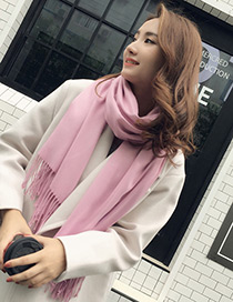 Trendy Pink Tassel Decorated Pure Color Scarf