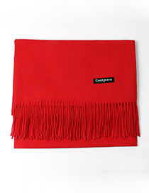 Trendy Red Tassel Decorated Pure Color Scarf