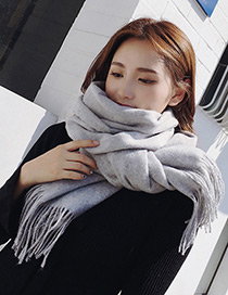 Trendy Light Gray Pure Color Decorated Tassel Design Scarf