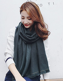 Trendy Black Pure Color Decorated Dual Use Scarf