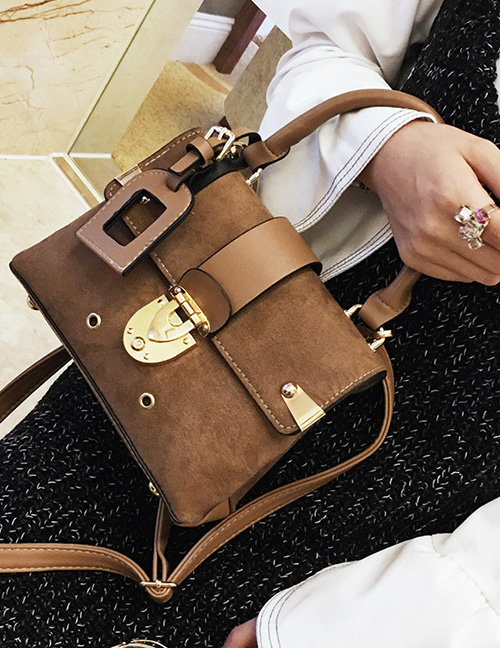 Trendy Brown Pure Color Decorated Shoulder Bag