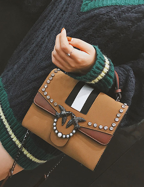 Trendy Brown Pearl&swallow Decorated Shoulder Bag
