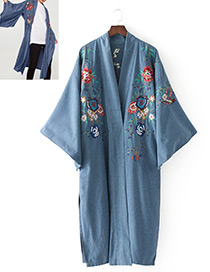 Fashion Dark Blue Embroidery Flower Decorated Kimono