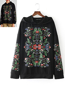 Fashion Black Embroidery Flower Decorated Blouse