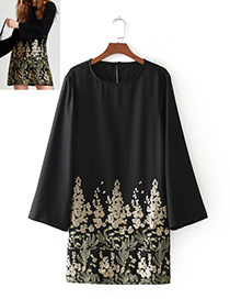 Fashion Black Flower Pattern Decorated Long Sleevs Dress