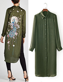 Fashion Olive Pure Color Decorated Long Sleevs Dress