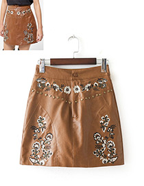 Fashion Brown Rivet&flower Pattern Decorated Skirt
