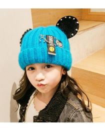 Lovely Blue Smiling Face Pattern Decorated Child Cap(1-6 Years Old )