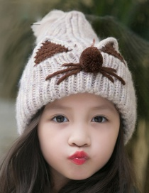 Lovely Beige Cartoon Pattern Design Child Knitted Cap(2-7 Years Old )