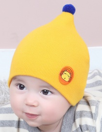 Lovely Yellow Cartoon Pattern Design Child Knitted Cap(0-2 Years Old )