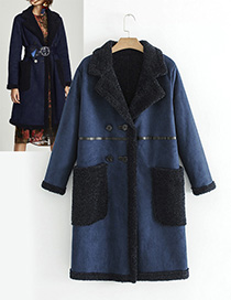 Fashion Dark Blue Long Sleeves Design Simple Coat