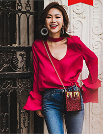 Fashion Plum Red Pure Color Decorated Long Sleeves Blouse