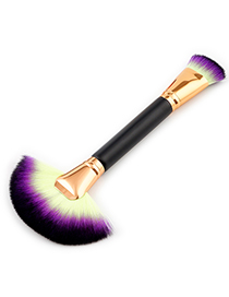Trendy Yellow+purple Sector Shape Decorated Makeup Brush