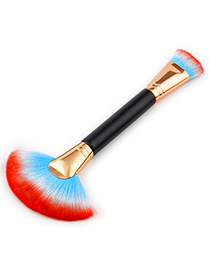 Trendy Blue+red Sector Shape Decorated Makeup Brush