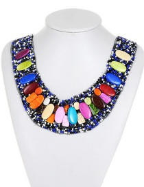 Bohemia Multi-color Color-matching Decorated Necklace