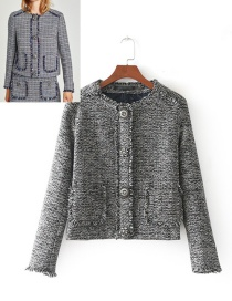 Fashion Gray Pure Color Decorated Long Sleeves Coat