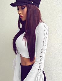 Sexy White Cross Shape Decorated Blouse