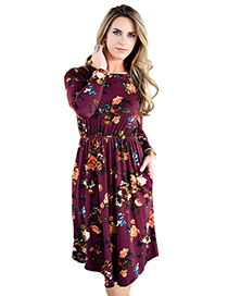 Elegant Claret-red Flower Shape Decorated Dress