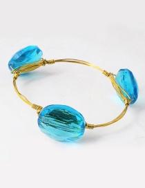 Vintage Light Blue Oval Shape Decorated Bracelet