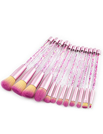 Fashion Plum-red Pure Color Decorated Brushes (12pcs)