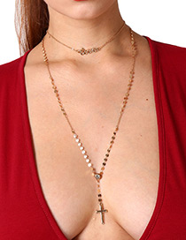Elegant Gold Color Cross Shape Decorated Double Layer Long Necklace