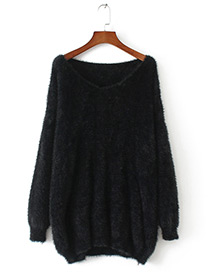 Vintage Black Pure Color Decorated Sweater